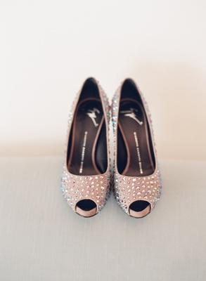 Pink peep-toe heels with rhinestone studs