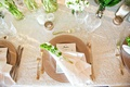 wedding reception texture linens with charger plate white napkin green foliage on place setting gold