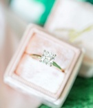 Bridal engagement ring yellow gold band solitaire princess cut diamond four prong in light pink box