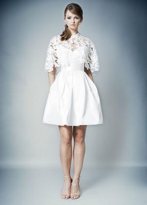 ROMONA by Romona Keveza Fall 2018 short wedding dress cocktail dress capelet lace pockets