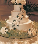 Tiered cake with flowers on top and sides