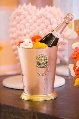 Veuve Clicquot Rose Champagne in rose gold copper gold bucket with lion handle bridal shower