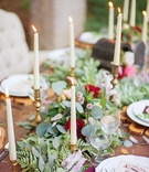 rustic tablescape foliage table runner candles gold green red pink purple celtic wedding wood