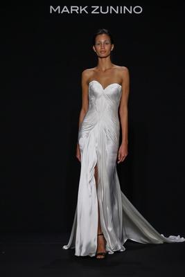Mark Zunino for Kleinfeld 2016 strapless draped wedding dress with high center slit