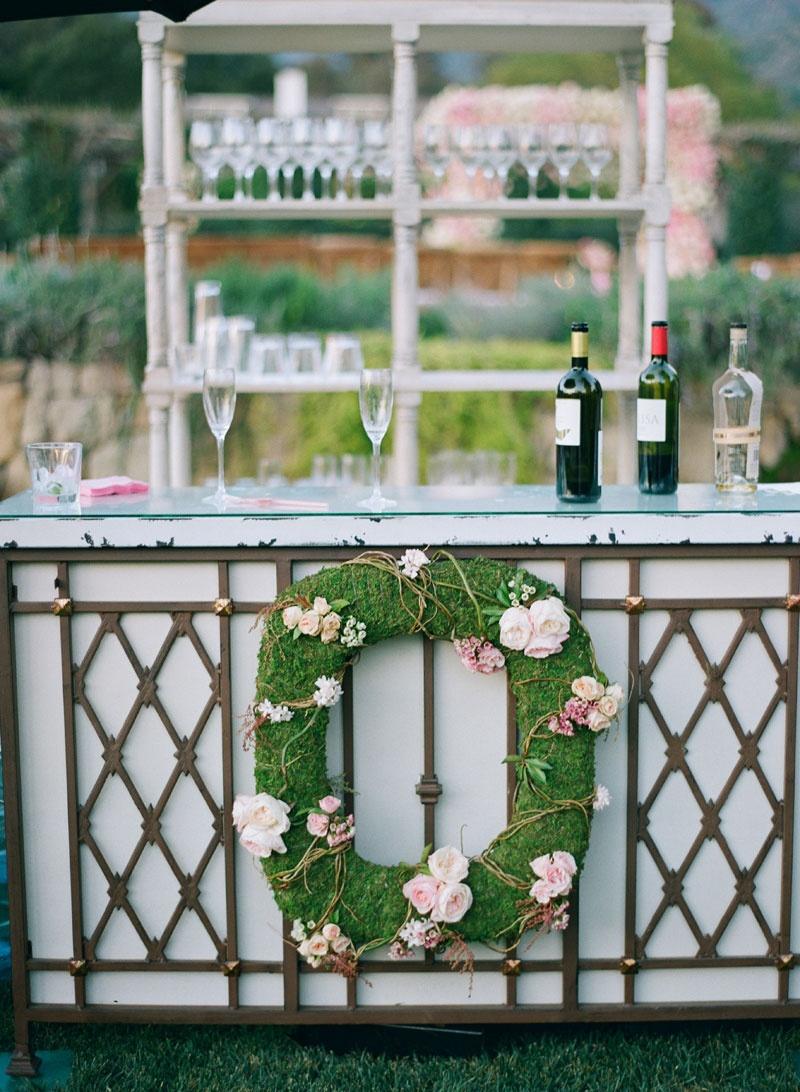 Wedding bar at Adam Ottavino and Brette Wolff's garden wedding moss pink rose flowers