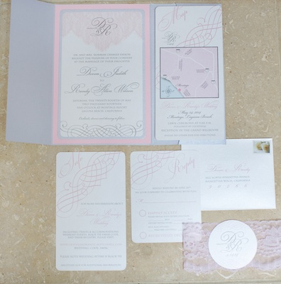 Wedding invitation suite in light grey and pink
