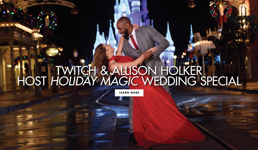 Twitch and Allison Holker host Disney's Fairy Tale Weddings Holiday Magic special on Freeform