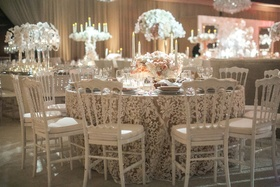 lace linens with white chairs, white and neutral wedding reception