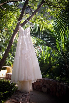 embroidered a-line ballgown tulle haning jungle lela rose wedding styled shoot punta mita mexico