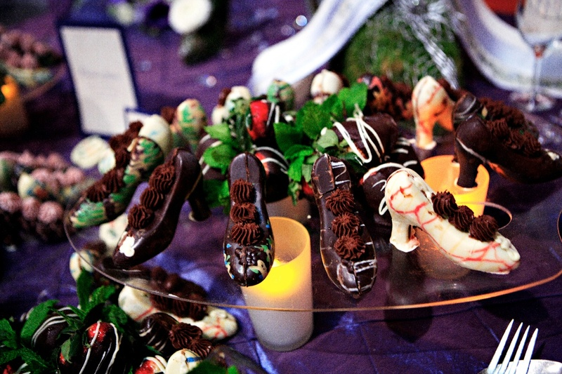 Wedding desserts of chocolate shells in the shape of heels filled with chocolate mousse