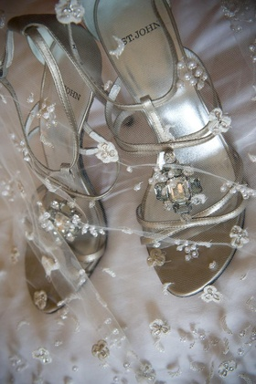 Silver strappy bridal shoes with crystal jewel