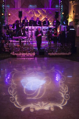 Wedding reception dance floor with couple's monogram