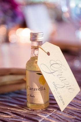 mini bottles of limoncello for wedding favors