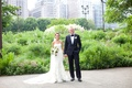 bride in vera wang gown, groom in j. crew, chicago park