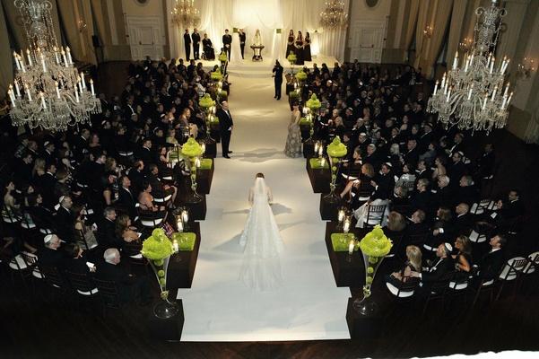 Bride walks down aisle at The Standard Club