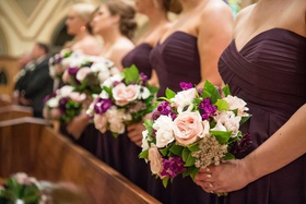 bridesmaid dresses purple with bouquets white pink rose purple flowers greenery