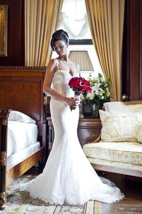 pnina tornai for kleinfeld bridal wedding dress lace mermaid gown sweetheart neckline sheer bodice