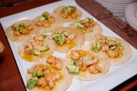 Wedding cocktail hour tray of shrimp tacos and avocado, The Standard Club, Chicago