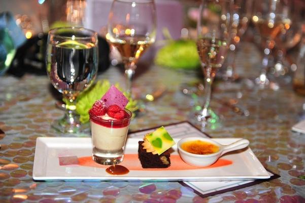 Sweet dessert treats on white platter