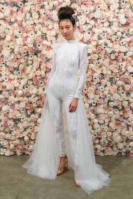 Michael Costello spring summer 2018 bridal couture collection long sleeve high neck jumpsuit tulle