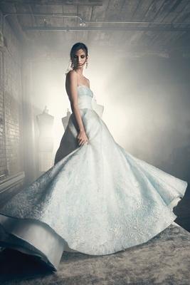 Sareh Nouri Fall 2018 wedding dress Eliza strapless light blue wedding dress ball gown jacquard