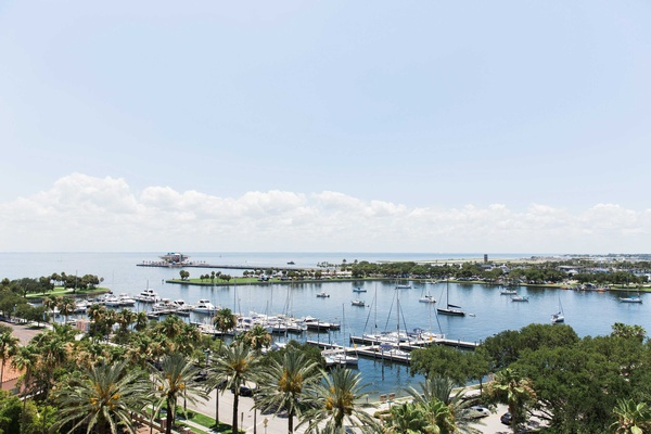atlantic ocean view st. petersburg florida wedding venue the vinoy bride groom harbor boats clouds