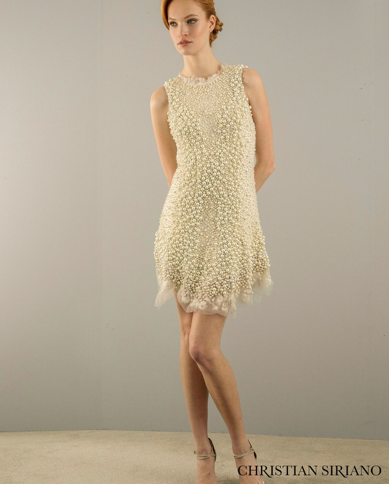Elegant Short Sheath Dress By Christian Siriano.