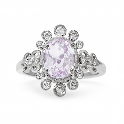 Claire Pettibone x Trumpet & Horn Angelica oval kunzite engagement ring