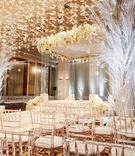 ballroom wedding ceremony chicago lucite chair white butterfly hanging from ceiling clear chuppah