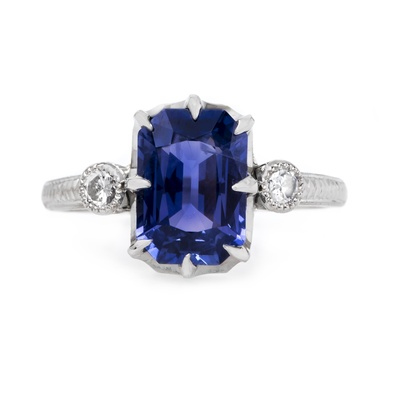 claire pettibone and trumpet and horn equinox engagement ring, purple sapphire, white gold, milgrain