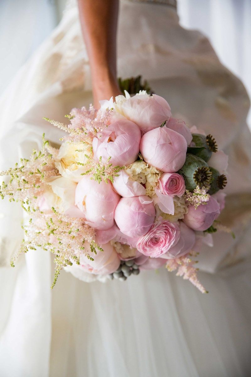 chudney ross wedding bouquet pink peony white garden rose pink ranunculus flower arrangement