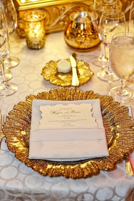 gold charger plates white detailed table linens vintage inspired menu reception décor