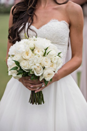 bridal bouquet with traditional and garden roses