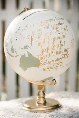 painted globe with gold calligraphy quoting tolkein