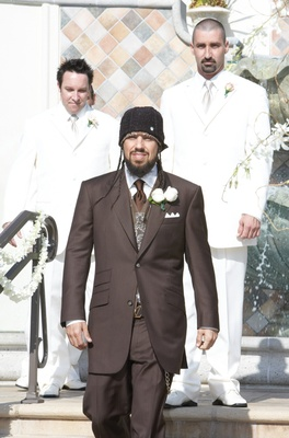 Korn bassist and groomsmen unique wedding attire
