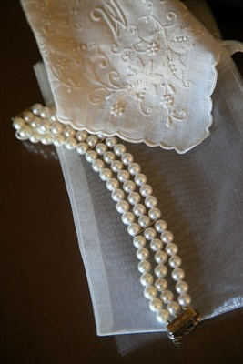 Three strand pearl bracelet with clasp and hanky