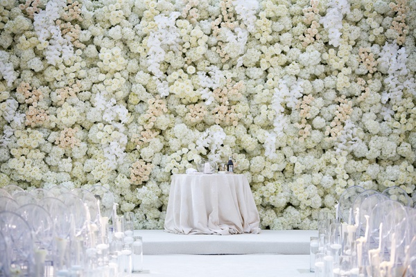 ceremony floral wall inspired by kim and kanye wedding, white orchids, ivory hydrangeas, roses