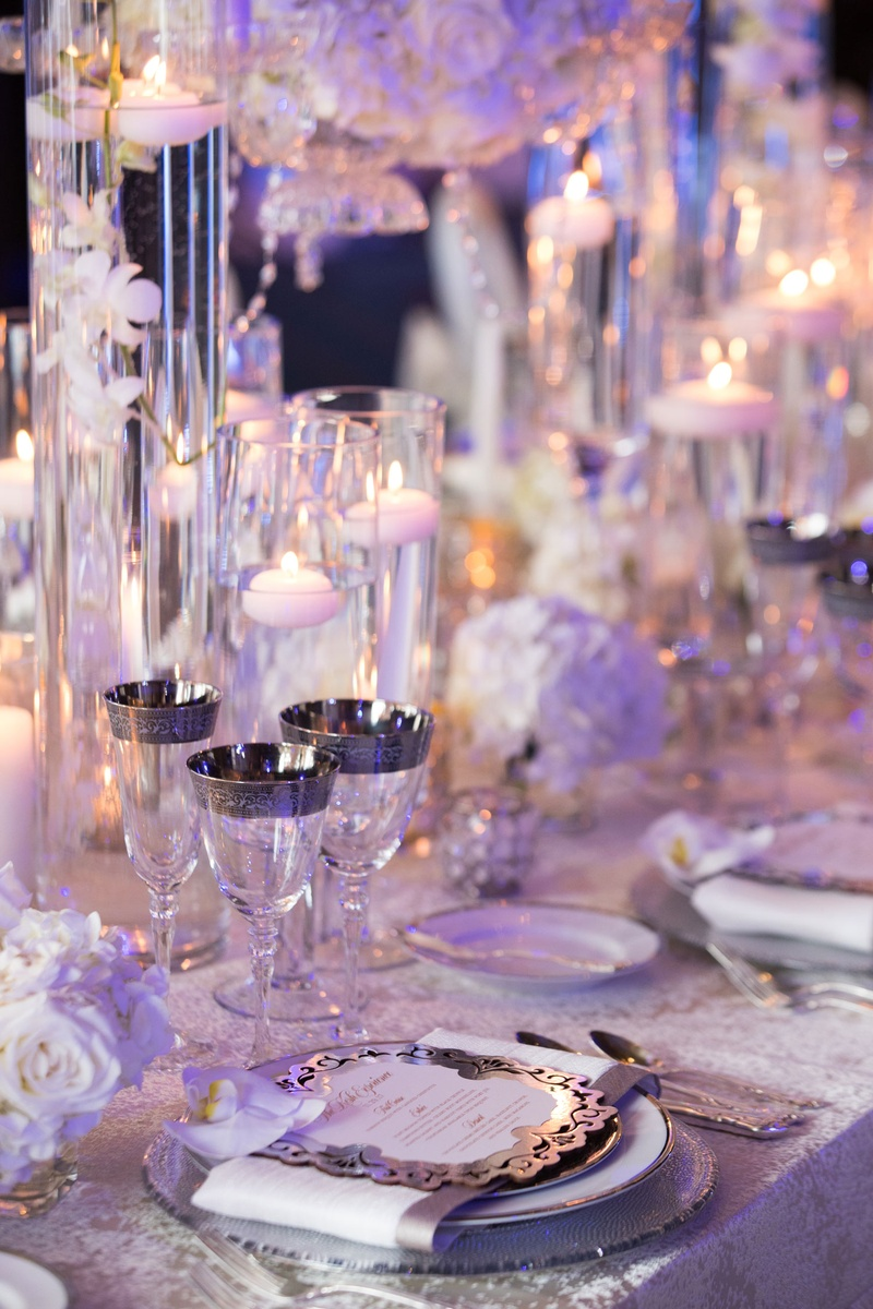 Wedding reception place setting menu card orchid silver rim champagne flute wine glass goblet
