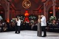 same-sex wedding inspiration, both grooms sharing mother-son dances on white dance floor