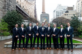 Groomsmen in suits groom in velvet dress shoes groomsmen in brown dress shoes new york city