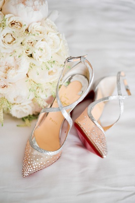 Christian Louboutin Twistissima Strass bridal heels with silver straps & rhinestone mesh