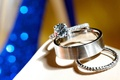Wedding rings and engagement ring with solitaire diamond