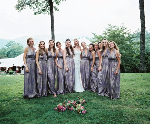 Vera Wang bridal gown with purple David Meister gowns