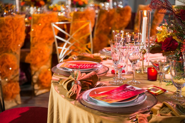 fire inspired wedding styled shoot with turmeric-hued linens