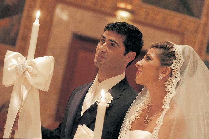 Headpieces & Veils Photos - Bride and Groom at Greek Wedding