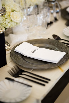 charger plate intricate design name card black silverware white table rhode island wedding reception