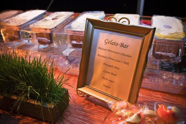 Gelato menu at wedding reception dessert station