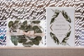 wedding invitation suite vintage boho design greenery pink ribbon