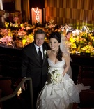 Bride and groom at theater wedding venue