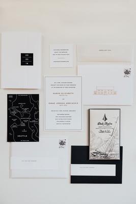 wedding invitation modern black white gold design venue motif map of seattle simple sophisticated